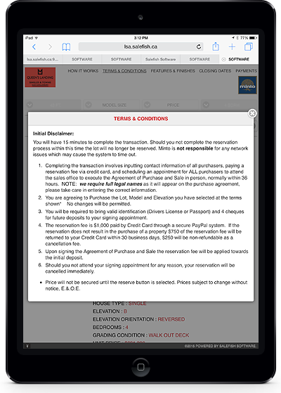 Terms and conditions feature on iPad